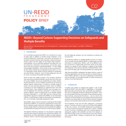 The Second Paper In UN REDD Policy Brief Series Focuses On Multiple Benefits And Safeguards With Specific Attention To Use Of Tools Data