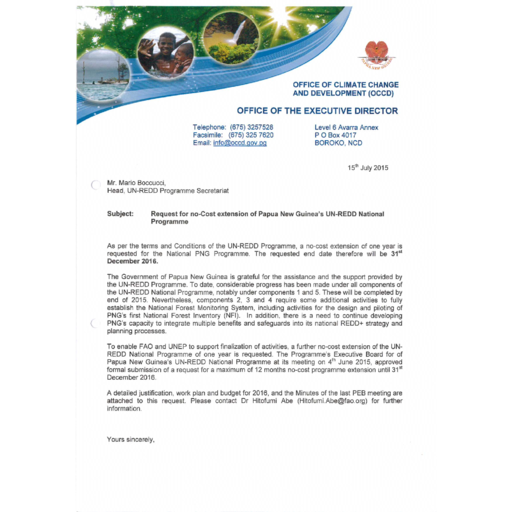 No cost extension request and justification from Papua New Guinea ...