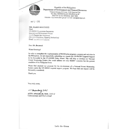 Philippines the targeted support philippines 2nd request june 2015 initial official letter m4hsunfo