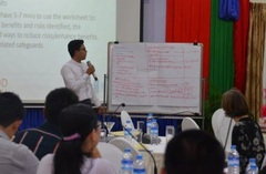 Reporting back on group results at Myanmar Safeguards Roadmap Workshop