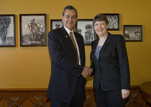 Helen Clark and Mexican Minister of Environment Elvira Quesada in Oslo